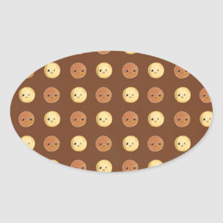 Happy Smiled Dots Oval Sticker