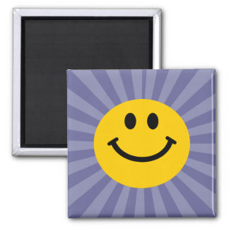 Happy Smiley Face 2 Inch Square Magnet