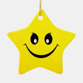 Happy Smiley Face Ceramic Ornament