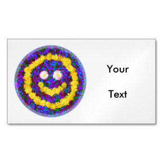 Happy Smiley Face Dandelion Flowers Business Card Magnet