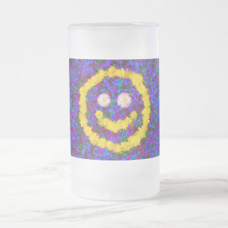 Happy Smiley Face Dandelion Flowers Frosted Glass Beer Mug