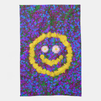 Happy Smiley Face Dandelion Flowers Hand Towel