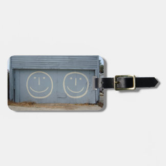 Happy Smiley Face Garage Doors on a Hill Luggage Tag