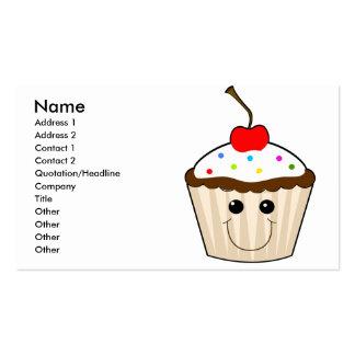 happy smiley face kawaii cupcake character business card