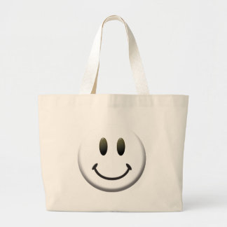 Happy Smiley Face Large Tote Bag