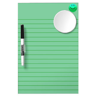 HAPPY SMILEY GREEN LINES WRITING MIRROR BOARD Dry-Erase WHITEBOARDS