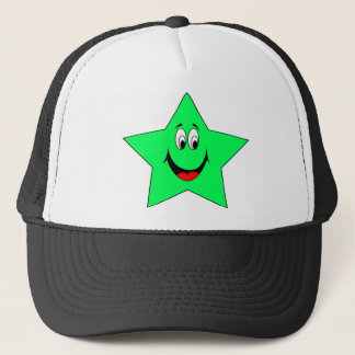 Happy Smiley Green Star Hat