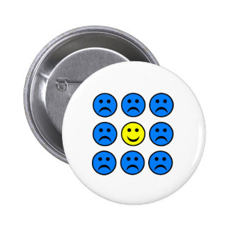 Happy Smiley in a Crowd of Unhappy Faces Button