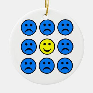 Happy Smiley in a Crowd of Unhappy Faces Ceramic Ornament