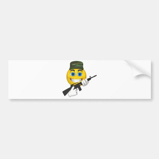 Happy smiley with a machine gun wearing a hat bumper sticker