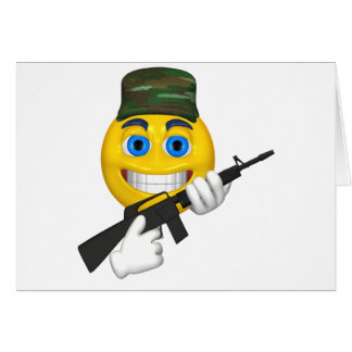 Happy smiley with a machine gun wearing a hat card