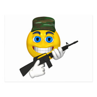 Happy smiley with a machine gun wearing a hat postcard
