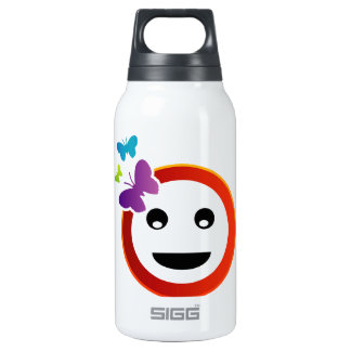Happy smiley with butterfly thermos bottle