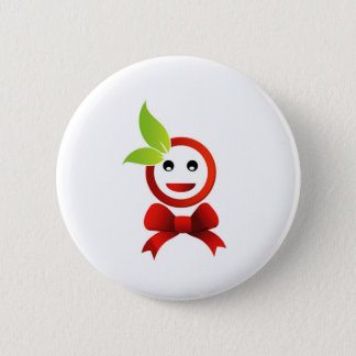 Happy smiley with green leaves button