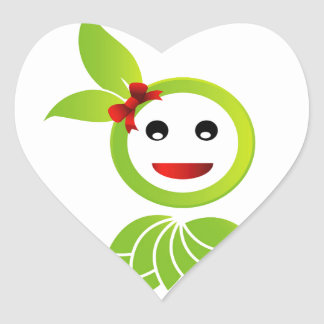Happy smiley with green leaves heart sticker