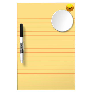 HAPPY SMILEY YELLOW LINES WRITING MIRROR BOARD DRY ERASE WHITEBOARD