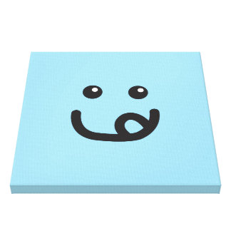Happy Smiley Yummy Face_baby blue Canvas Print
