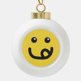 Happy Smiley Yummy Face_banana yellow Ceramic Ball Christmas Ornament