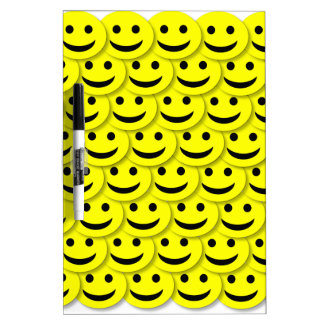 HAPPY SMILIES SMILE FACE CARTOONS YELLOW BLACK BAC Dry-Erase WHITEBOARDS