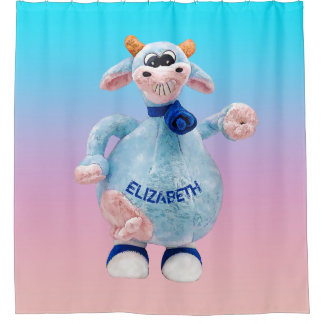 Happy Smiling Blue Pink Cow With Your Name Drawin Shower Curtain