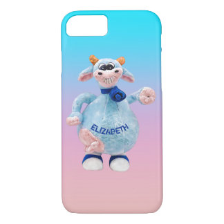 Happy Smiling Blue Pink Cow With Your Name Drawing iPhone 7 Case