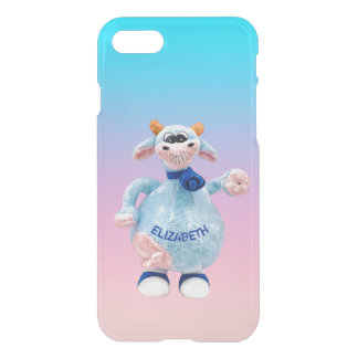 Happy Smiling Blue Pink Cow With Your Name Drawing iPhone 8/7 Case