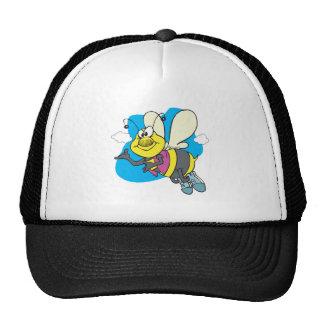 happy smiling cartoon bee trucker hat