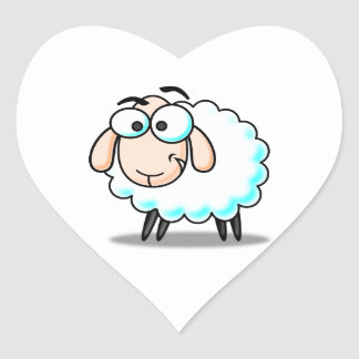 Happy Smiling Cartoon Sheep Heart Sticker