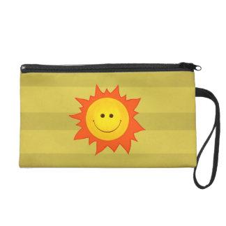 Happy Smiling Cartoon Sun Wristlet Clutches