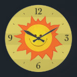 """Happy Smiling Cartoon Sun Childrens Large Clock<br><div class=""""desc"""">Cute and colorful children&#39;s wall clock with a happy smiling cartoon sun on green striped background. This bright and colorful sun wall clock would be a lovely addition to the decor of a kids&#39; room (and for grown-up children, too). :) You can remove the numbers of this colorful and cute...</div>"""