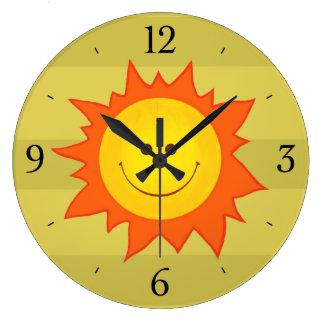 Happy Smiling Cartoon Sun Childrens Large Clock
