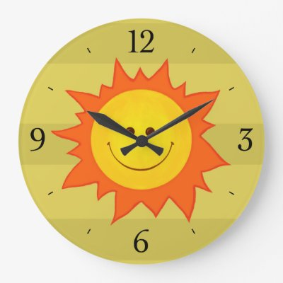 Happy Smiling Cartoon Sun Childrens Wallclock