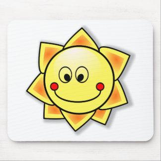 Happy Smiling Cartoon Sun Mouse Pad