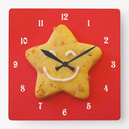 Happy smiling cookie square wall clock