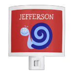 [ Thumbnail: Happy, Smiling, Cute Blue Snail Character + Name Night Light ]