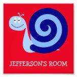 [ Thumbnail: Happy, Smiling, Cute Blue Snail Character + Name Photo Print ]