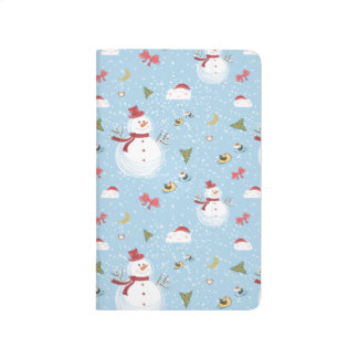 Happy Smiling Cute Snowman Winter Scene Snowstorm Journal