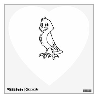 Happy Smiling Eaglet Black and White Cards Wall Decal