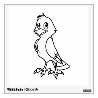 Happy Smiling Eaglet Black and White Cards Wall Sticker