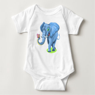 Happy Smiling Elephant With Butterfly Kids Baby Bodysuit