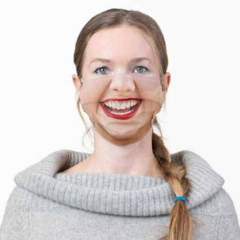 Happy Smiling Female Face Red Lipstick Funny Adult Cloth Face Mask