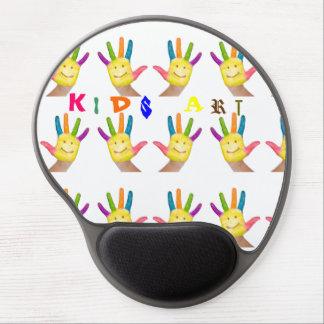 Happy smiling finger painted kids hands art gel mouse mat
