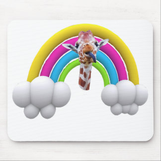 Happy Smiling Giraffe, Rainbow, Clouds, Mouse Pad