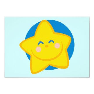 HAPPY SMILING GOLDEN STAR CARTOON BLUE YELLOW CARD