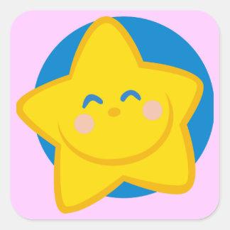 HAPPY SMILING GOLDEN STAR CARTOON BLUE YELLOW SQUARE STICKER