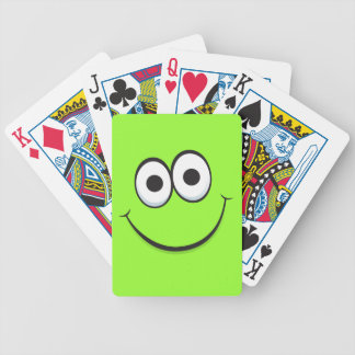 Happy smiling green cartoon smiley face funny bicycle playing cards