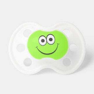 Happy smiling green cartoon smiley face funny BooginHead pacifier