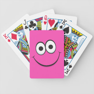 Happy smiling hot pink cartoon smiley face funny bicycle playing cards