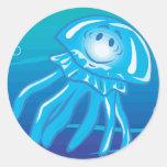 happy smiling jellyfish classic round sticker