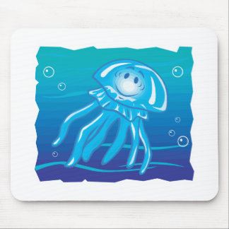 happy smiling jellyfish mouse pad
